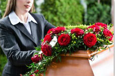Mourning wrongful death casket