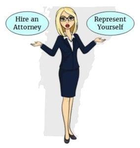 Vermont hire attorney self represent