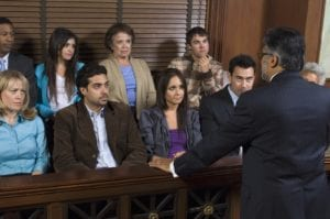 Jury looking at prosecutor