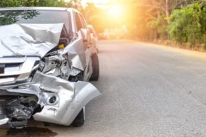 Damaged gray car in a road accident