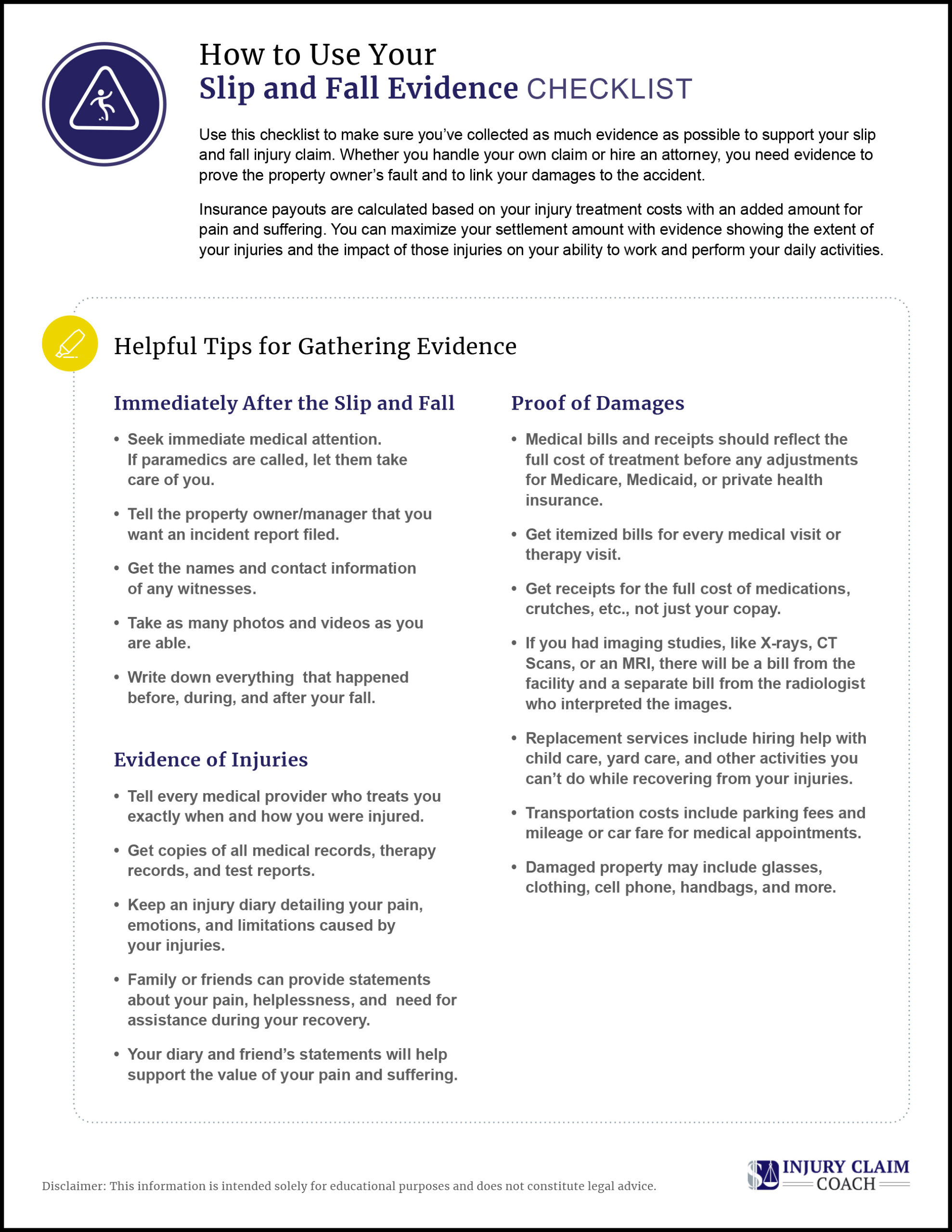 Slip and Fall Evidence Checklist Tips