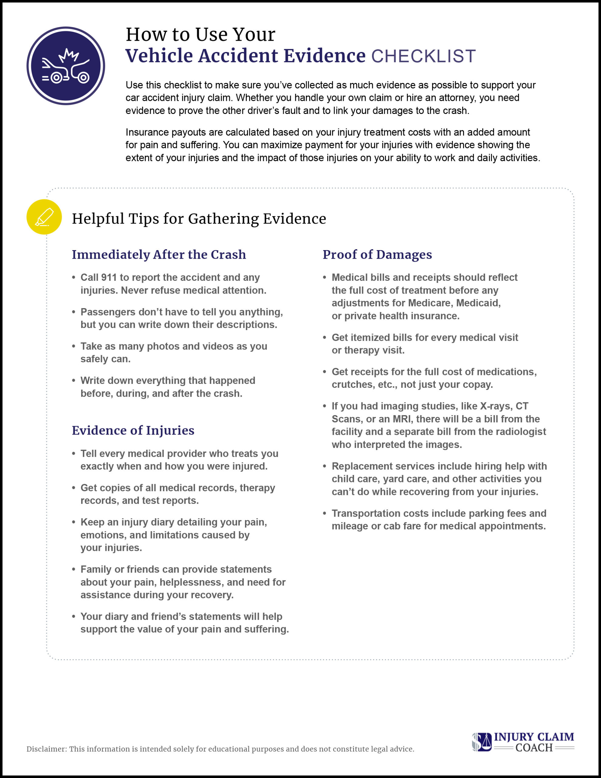 Vehicle Accident Evidence Checklist Tips