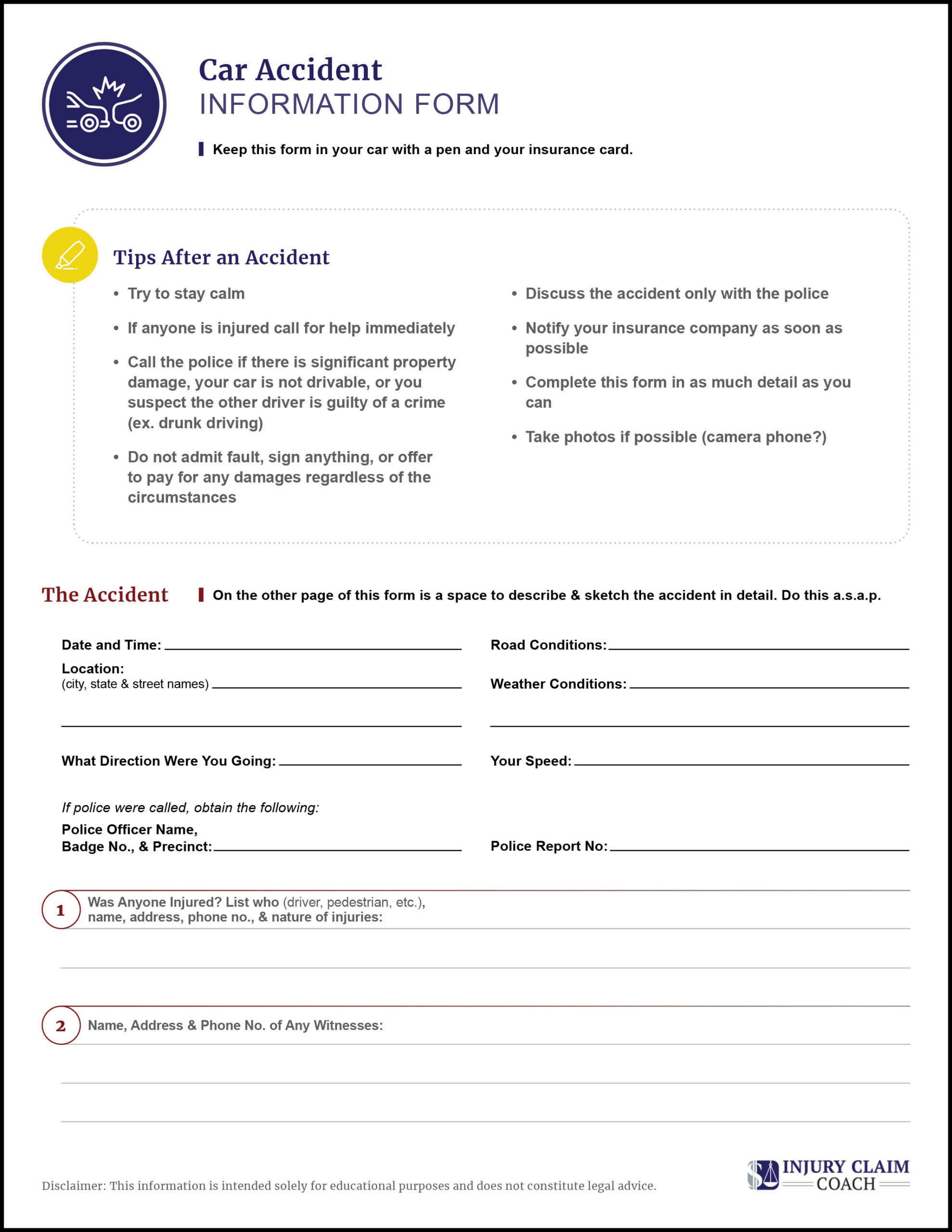 Car Accident Information Form p1