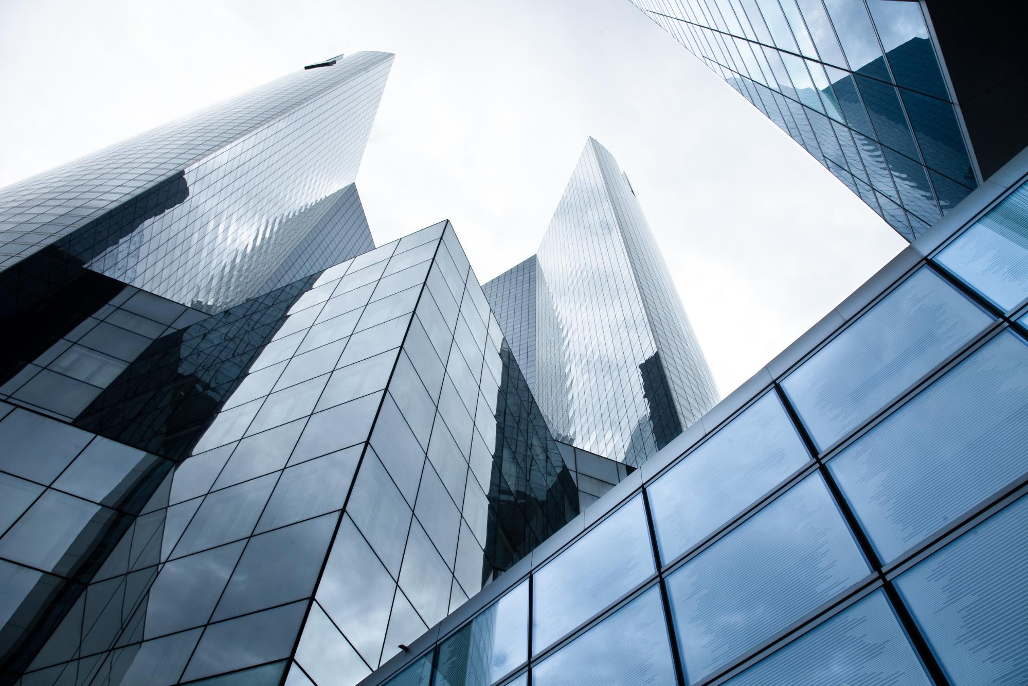 Skyscrapers with glass panels
