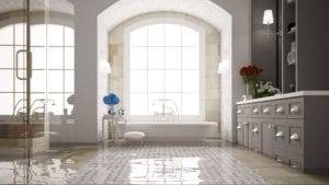 Bathtub in a large bathroom in a home