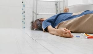Old person after slip and fall in bathtub