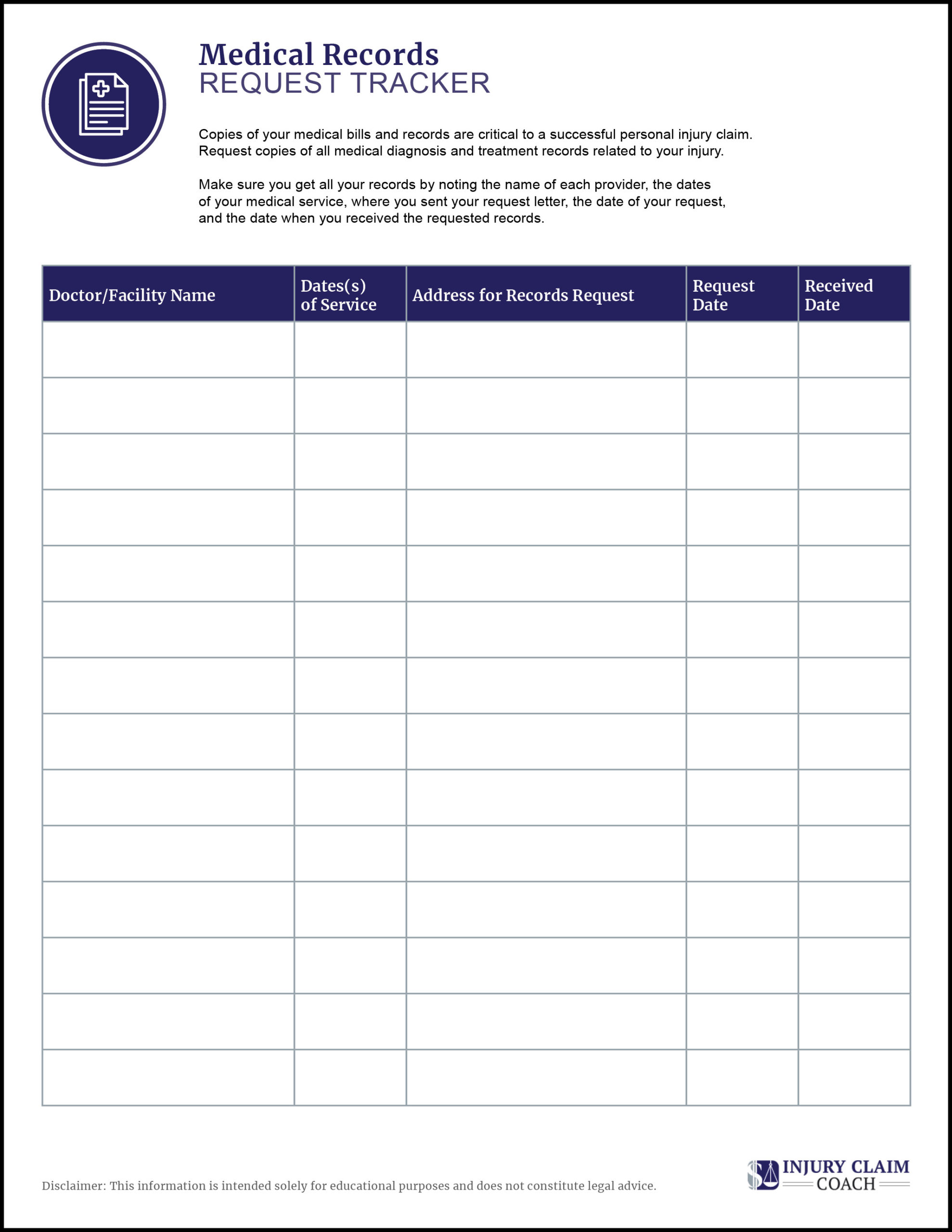 Medical records request tracking log