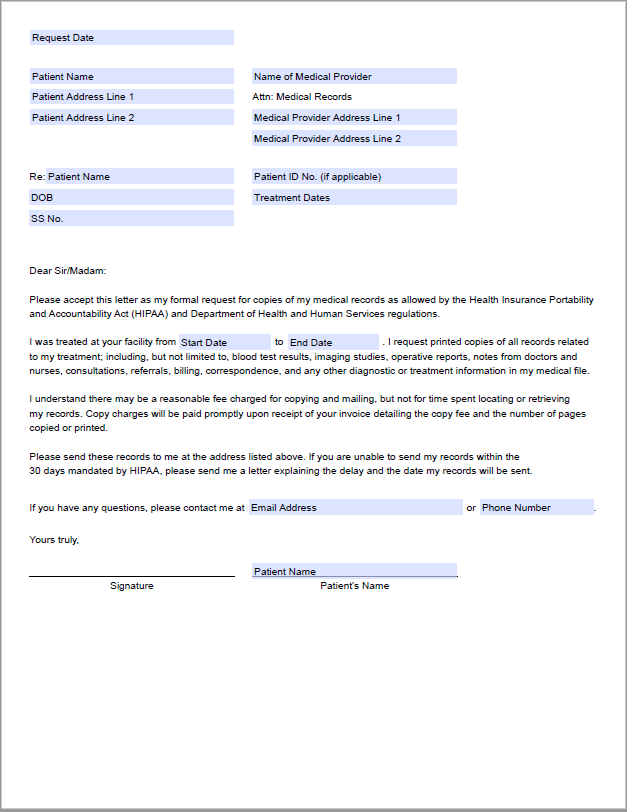 Downloadable medical records request letter