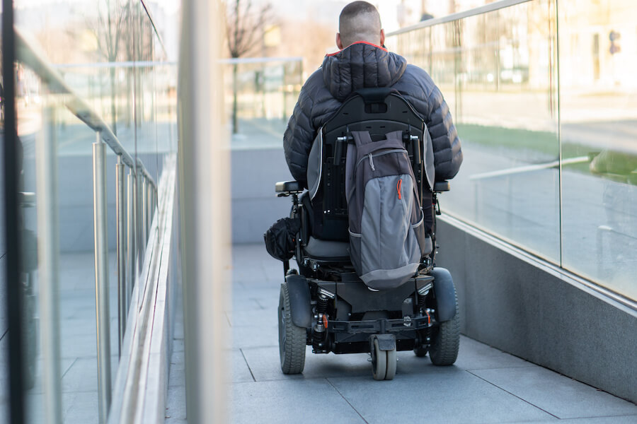 Man in an electric wheelchair