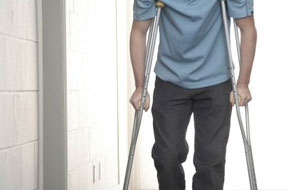 injured man on crutches